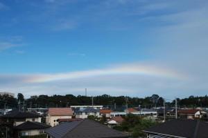 台風の中、狭山から青空に見える虹